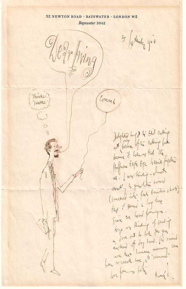 letter from Ronald Searle