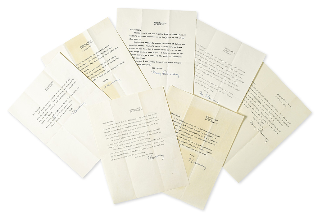 OCONNOR, FLANNERY. Group of 11 items Signed, Flannery, M. Flannery, or Mary Flannery: 7 Typed Letters and 4 Christmas Cards, eac