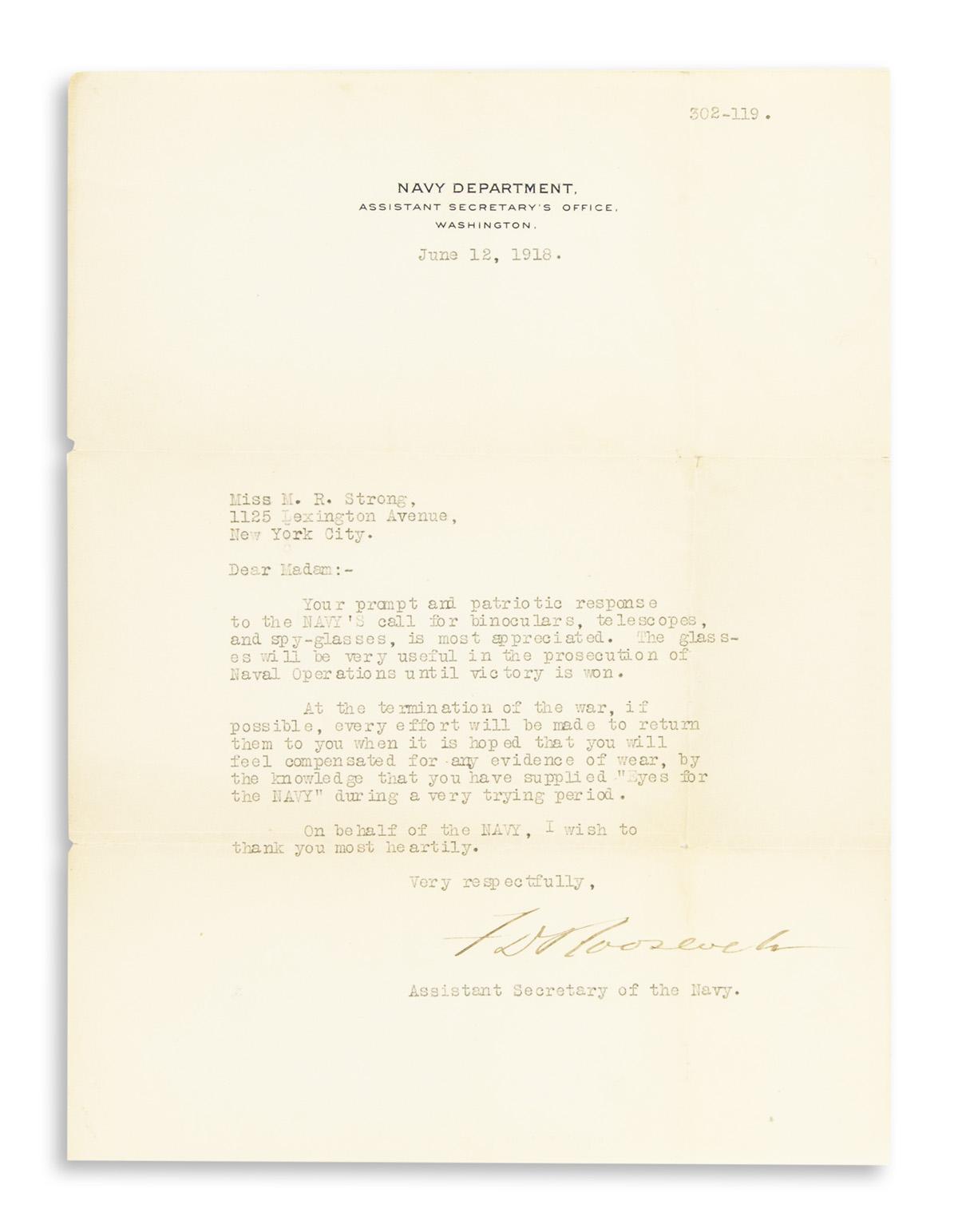 ROOSEVELT-FRANKLIN-D-Letter-Signed-FDRoosevelt-as-Assistant-