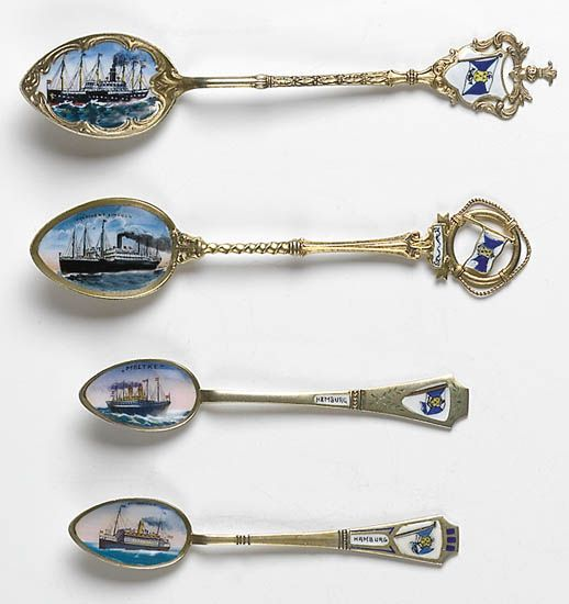 (HAMBURG-AMERICAN LINE.) Group of 4 souvenir spoons, each with enamel portrait of the ship in the spoon bowl.