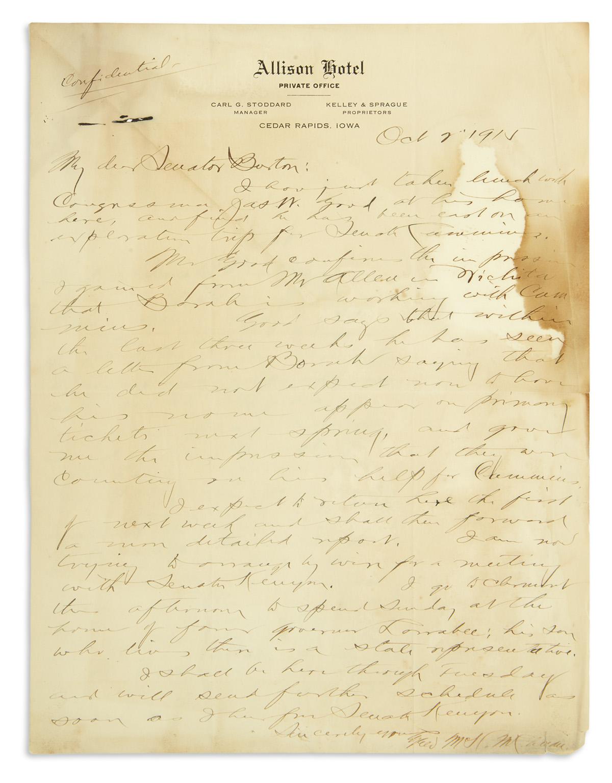 (PRESIDENTS--1916-CAMPAIGN)-Archive-of-Theodore-Burton-candi