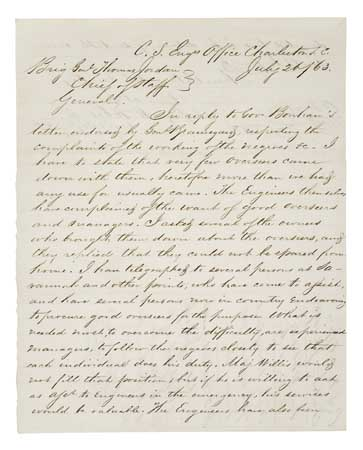 (MILITARY.) Autograph Letter Signed from Major William H. Echols, Chief Engineer, Confederate States of America to Brig. Gen. Thomas Jo