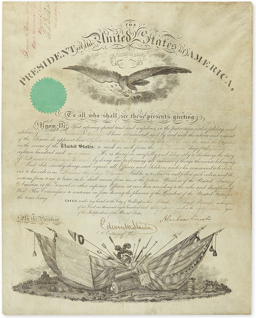 LINCOLN, ABRAHAM. Partly-printed vellum Document Signed, as President, military commission appointing Lewis T. Barney