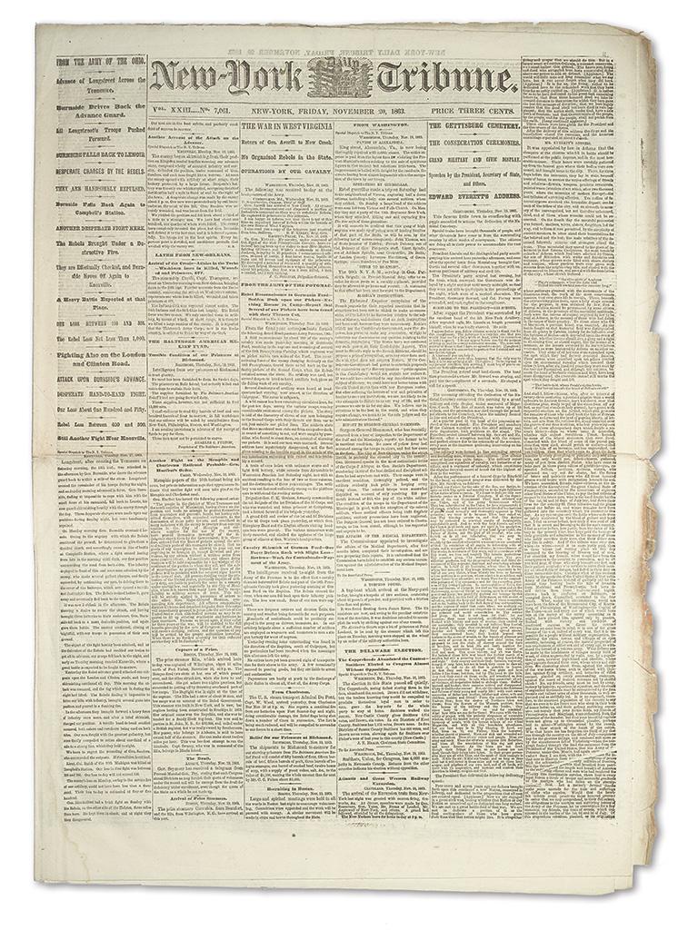 LINCOLN, ABRAHAM. New York Tribune printing of the Gettysburg Address.