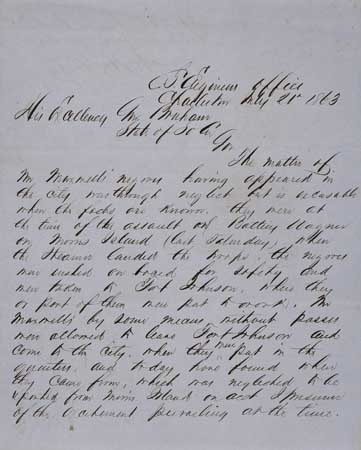 (MILITARY.) Autograph Letter Signed from Major William Echols to Governor Bonham regarding the presence of Mr. Maxwell's Negroes