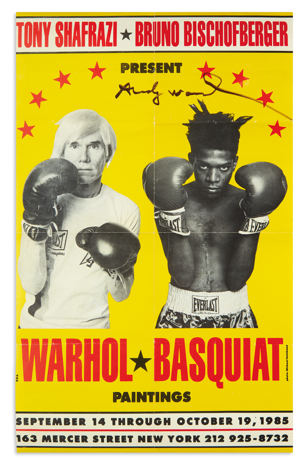 WARHOL, ANDY. Signature on a poster for the 1985 Warhol-Basquiat exhibition at the Tony Shafrazi Gallery.