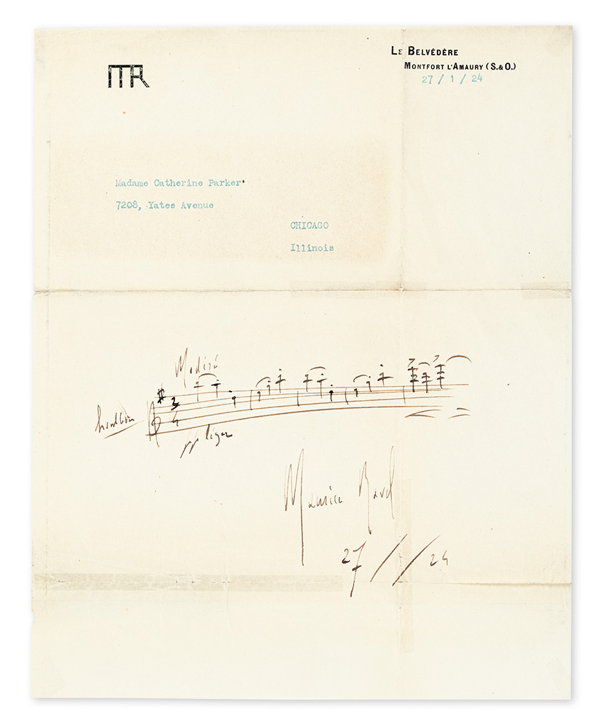 RAVEL, MAURICE. Autograph Musical Quotation dated and Signed, 5 bars from his third waltz of Les Valses nobles et sentimentales,