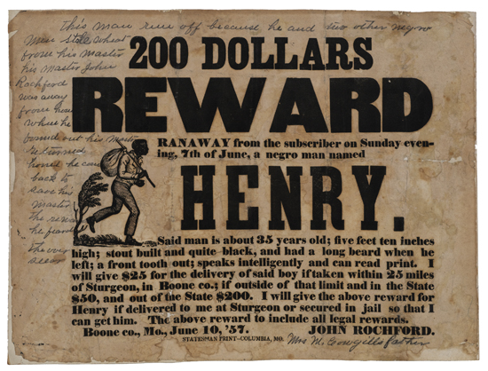 (SLAVERY AND ABOLITION--RUNAWAY.) 200 Dollars Reward. Ranaway from the Subscriber on Sunday Evening, 7th of June, a Negro Man Named Hen