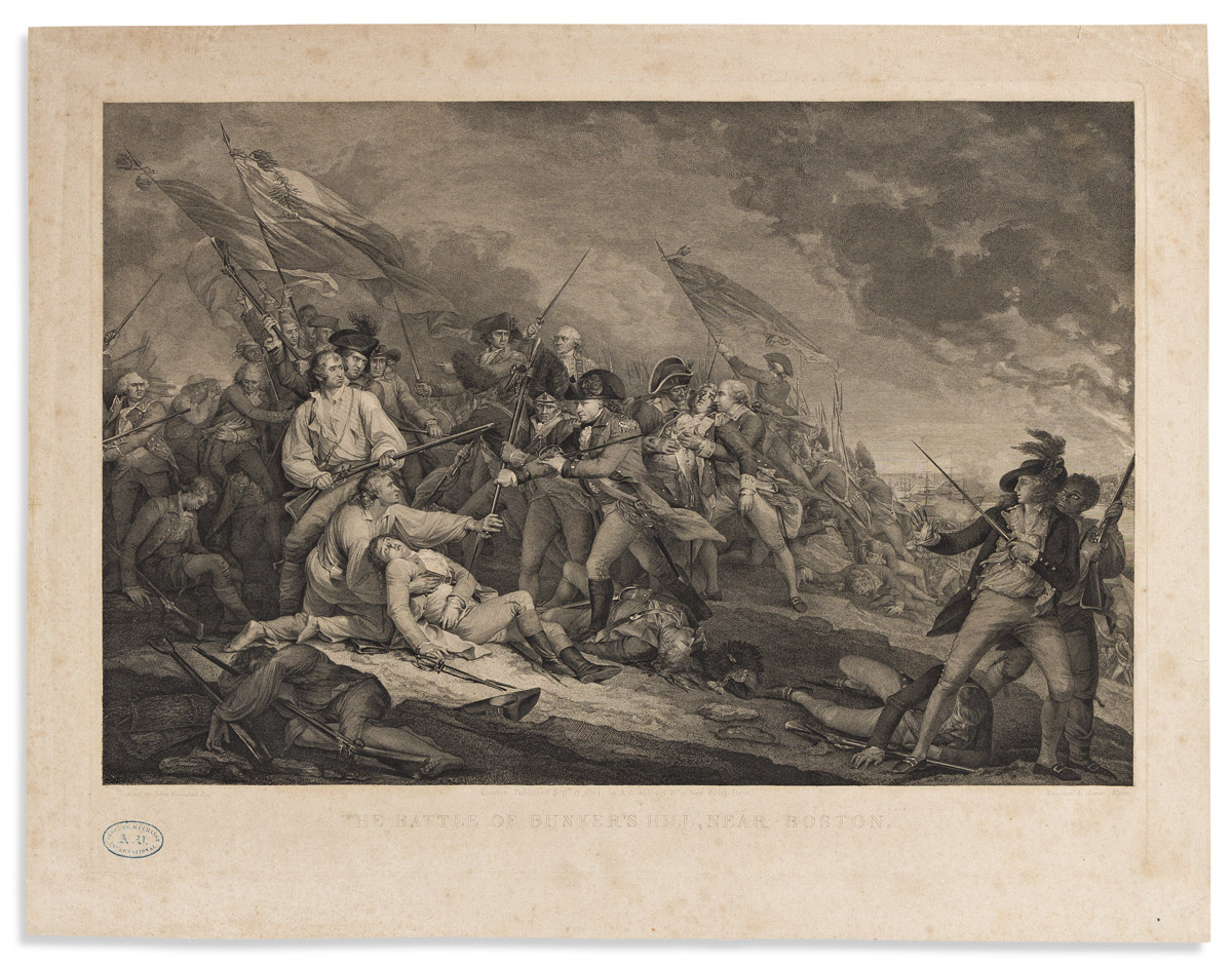 (AMERICAN REVOLUTION.) James Mitan, engraver; after Trumbull. The Battle of Bunkers Hill, near Boston.