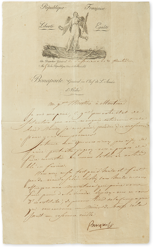 NAPOLÉON. Letter Signed, Bonaparte, as Commander in Chief of the Army of Italy, to General Miollio, in French, expressing concern tha