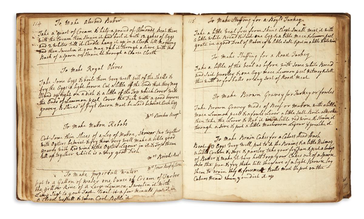 COOKERY.  Manuscript recipe book in English.  18th-early 19th century.