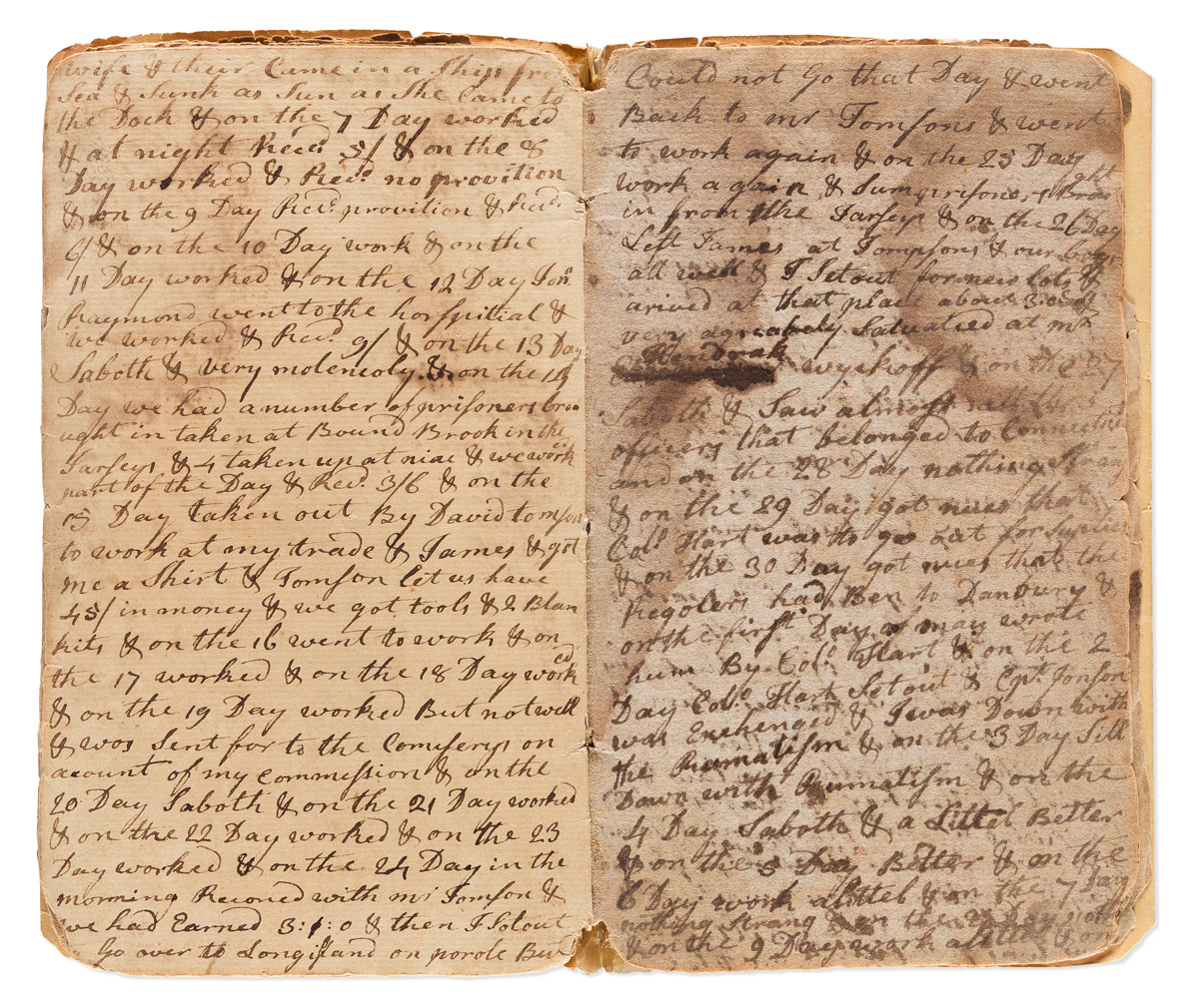 (AMERICAN REVOLUTION--1777.) Jeremiah Beard Eells. Diary of a Connecticut officer imprisoned in the infamous Manhattan sugarhouse.