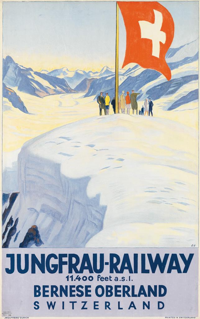 EMIL CARDINAUX (1877-1936). JUNGFRAU - RAILWAY. 1928. 39x24 inches, 101x63 cm. Wolfsberg, Zurich.