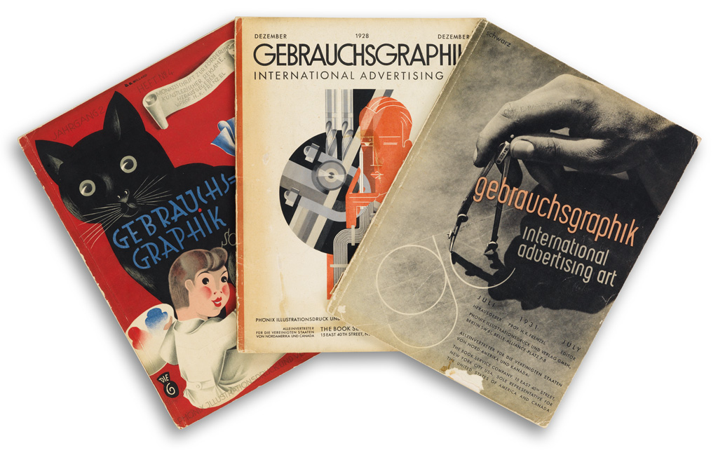 VARIOUS ARTISTS. [GERMAN & DUTCH GRAPHIC DESIGN.] Group of 11 magazine issues. 1920s-1950s. Sizes vary, each approximately 12x9 inches,
