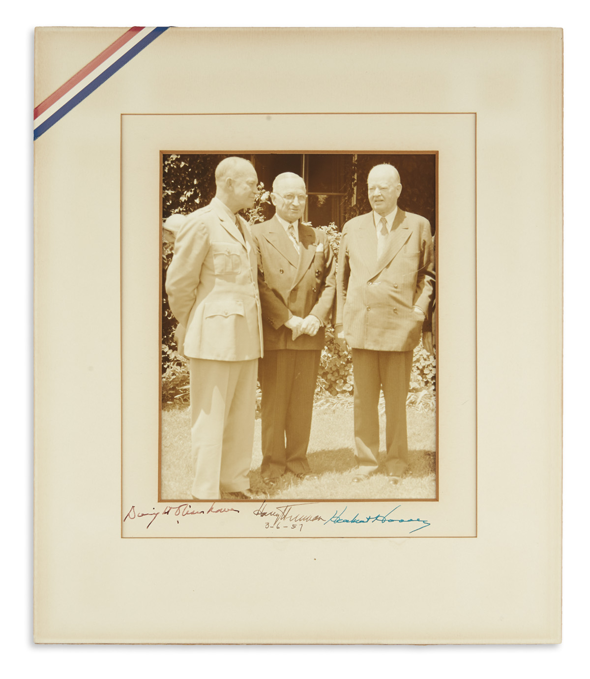 (PRESIDENTS.) EISENHOWER, DWIGHT D.; HARRY S. TRUMAN; AND HERBERT HOOVER. Group Photograph Signed, by all three, additionally dated by