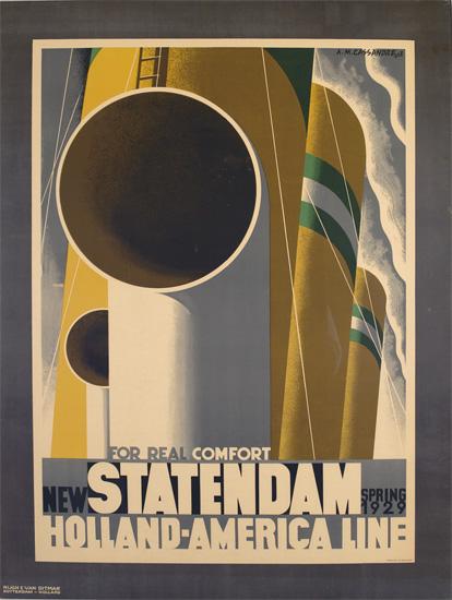 A.M. CASSANDRE (ADOLPHE MOURON, 1901-1968). NEW STATENDAM / HOLLAND-AMERICA LINE. 1928. 40x31 inches, 103x78 cm. Nijgh & Van Dittmar, R