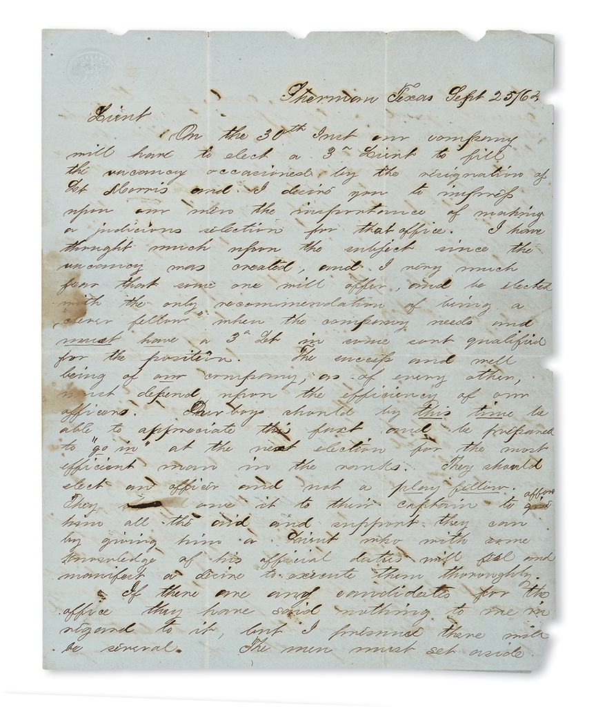 (CIVIL WAR--CONFEDERATE--TEXAS.) Papers of Captain Benjamin Eustace McCulloch of the 1st Texas Mounted Rifles.