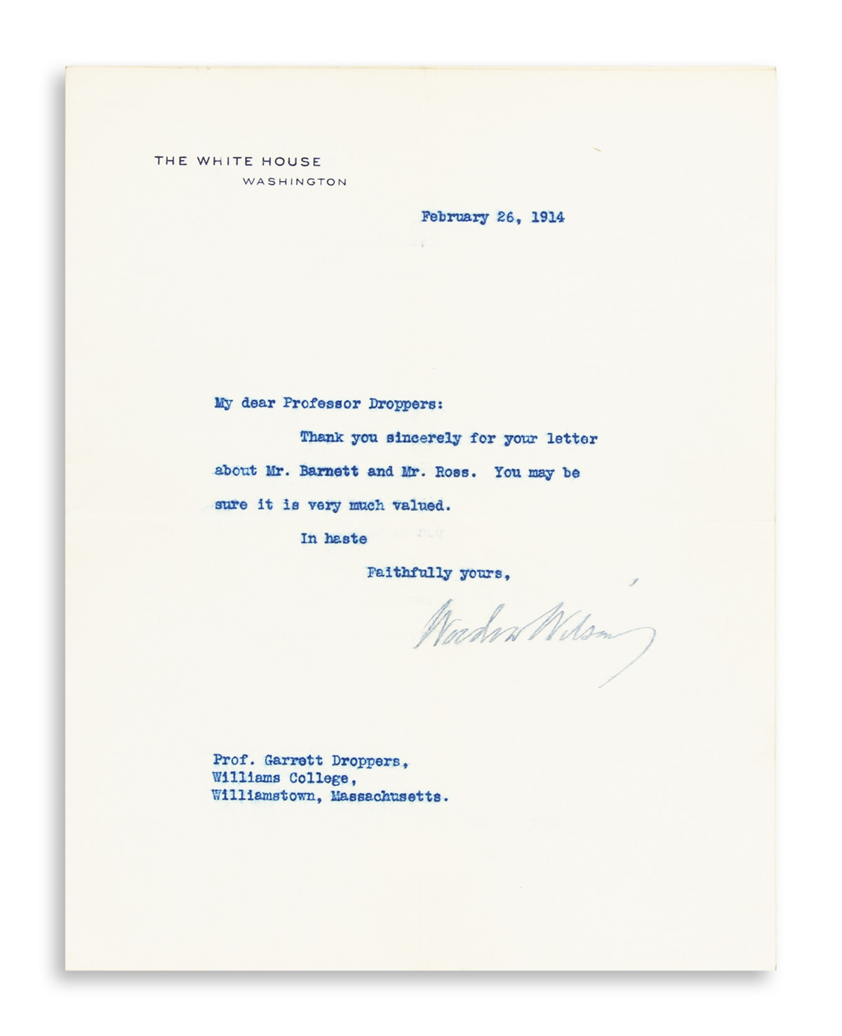 WILSON, WOODROW. Brief Typed Letter Signed, as President, to Professor Garrett Droppers,
