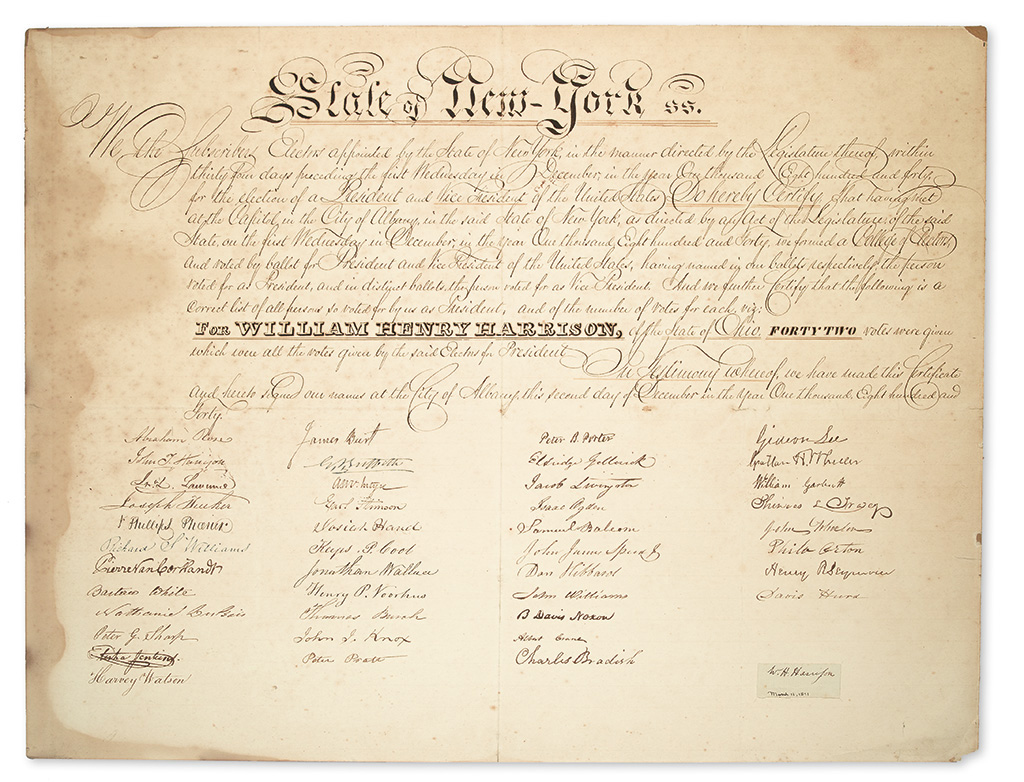 (PRESIDENTS--1840 CAMPAIGN.) Three documents certifying the votes of New Yorks electors for the Harrison-Tyler ticket.