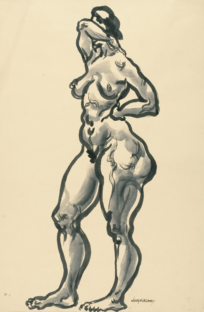 JOSEPH-DELANEY-(1904---1981)-Untitled-(Standing-Nude-Coverin