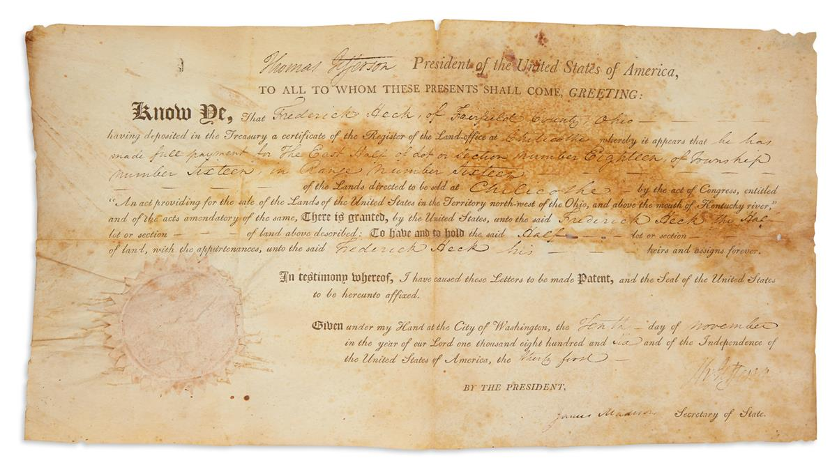 JEFFERSON, THOMAS. Partly-printed vellum Document Signed, Th:Jefferson, as President,