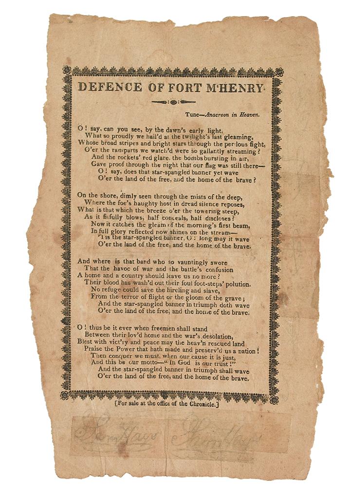 (WAR OF 1812.) [Key, Francis Scott.] Defence of Fort MHenry.