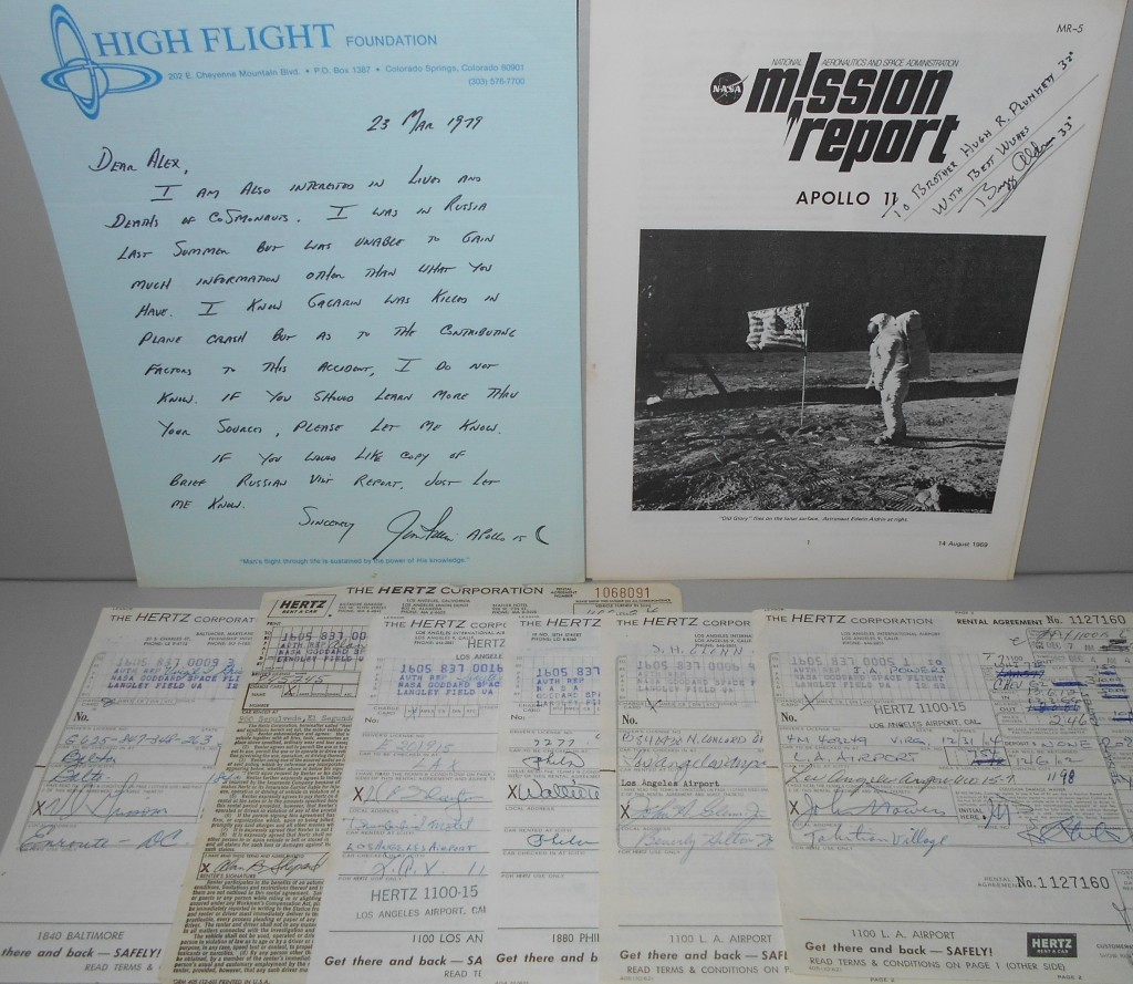 (ASTRONAUTS--APOLLO)-Group-of-7-items-Signed-or-Signed-and-I