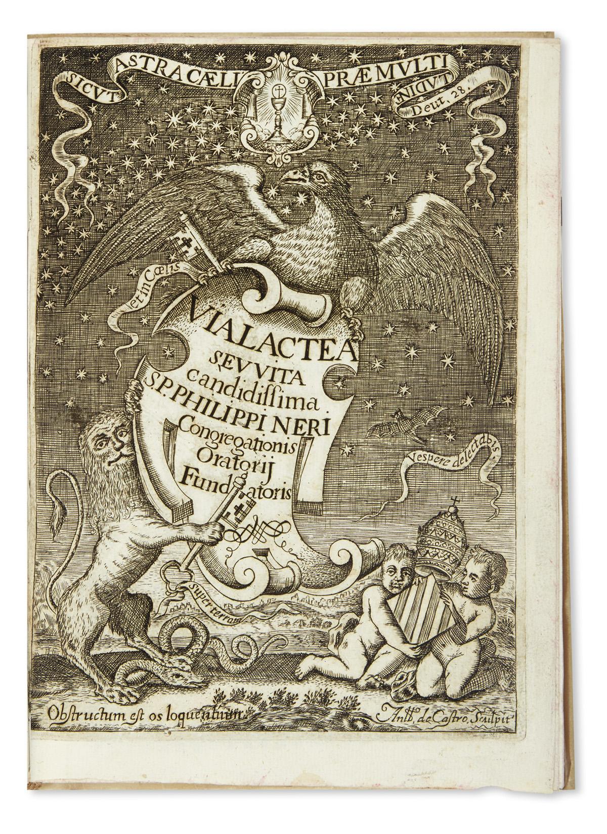 (MEXICAN IMPRINT--1698.) Ramirez, José. Via lactea, seu vita candidissima S. Philippi Nerii.