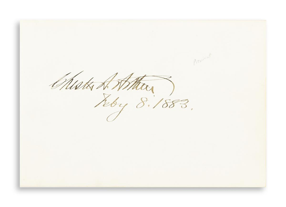 (PRESIDENTS)-Group-of-5-items-each-Signed-Chester-A-Arthur--