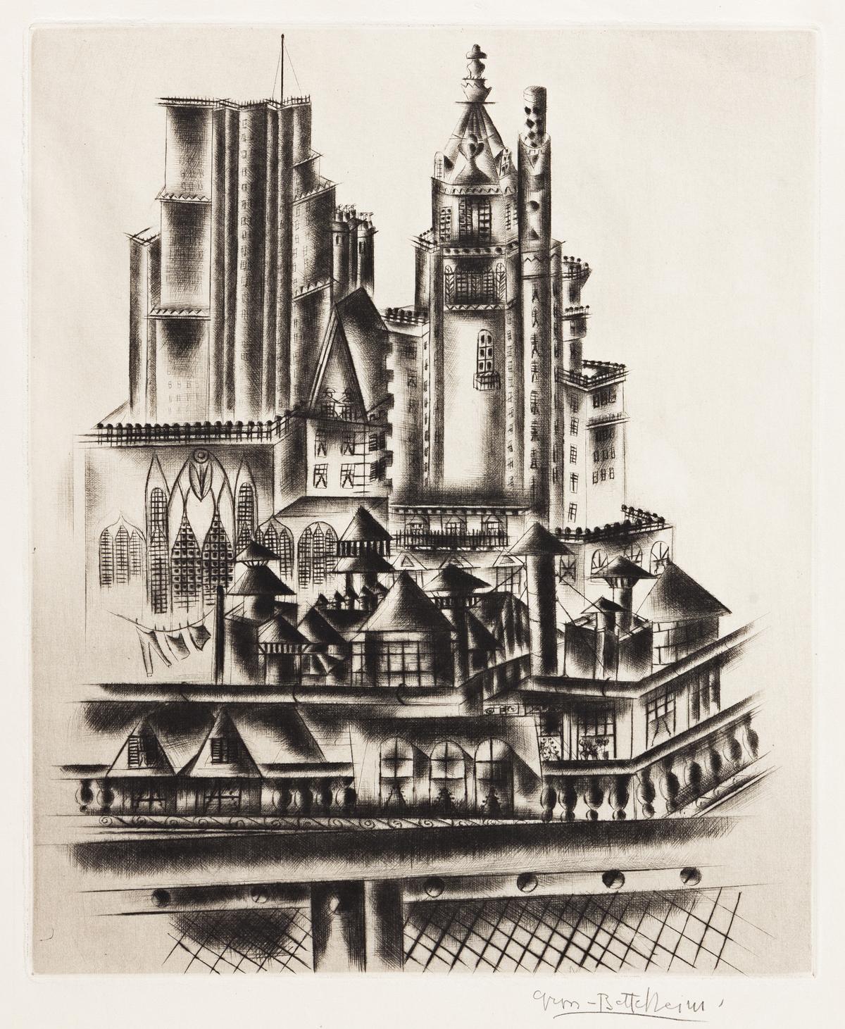JOLAN GROSS-BETTELHEIM (1900-1972) Manhattan Roofs.