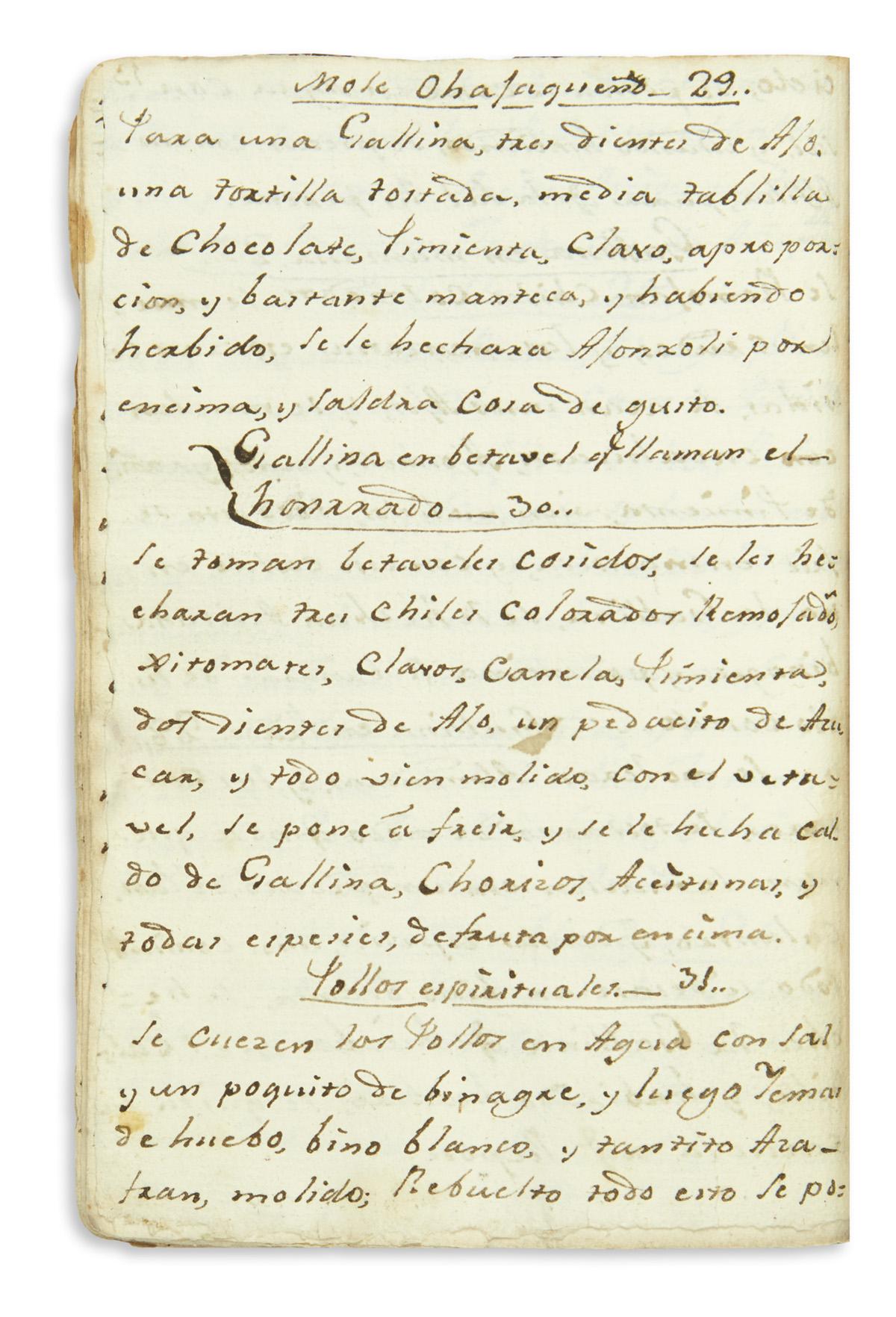 (MEXICAN COOKERY.) Cruces, Ana Maria. Libro de cosina, en q´se contienen varias cosas de guisados desentes y sabrosos