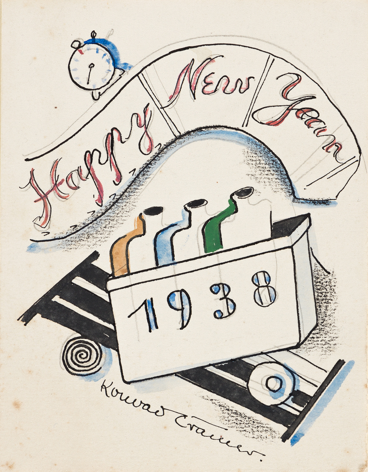 KONRAD CRAMER (1888 - 1963, AMERICAN) Untitled, (A group of four New Years cards).