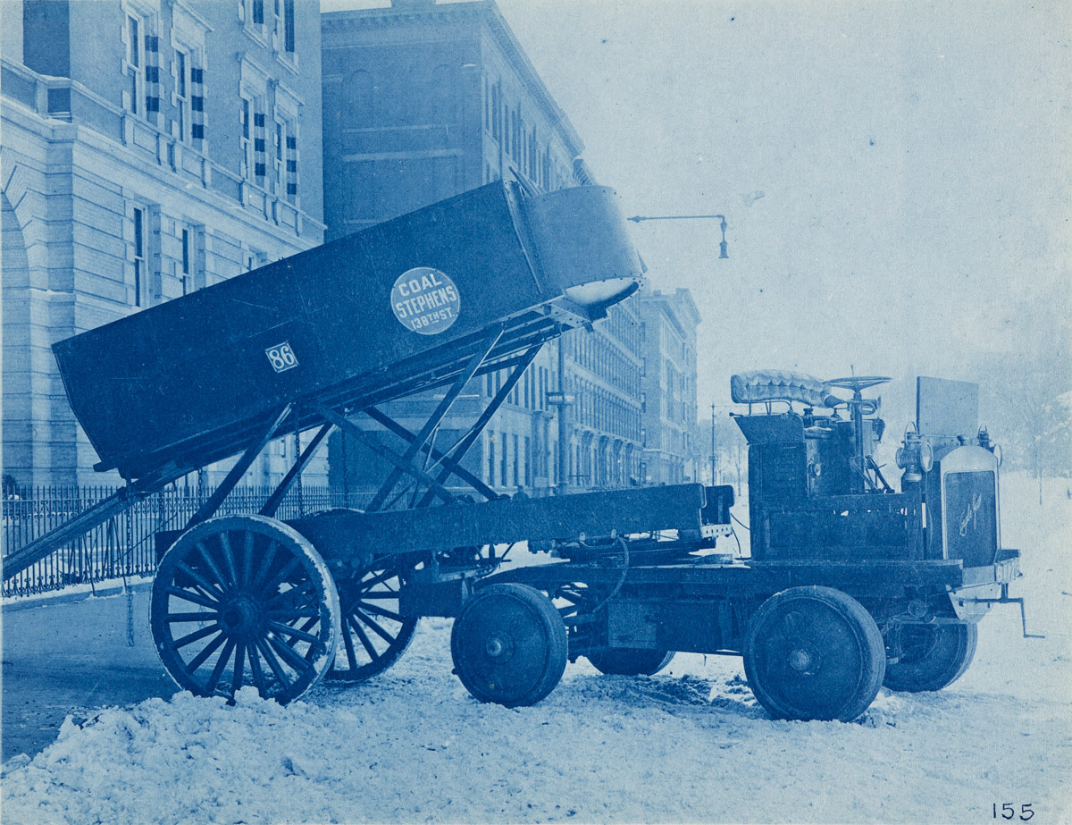 (CYANOTYPES) A selection of 22 richly-printed and finely-composed cyanotypes depicting a variety of delivery and freight vehicles.