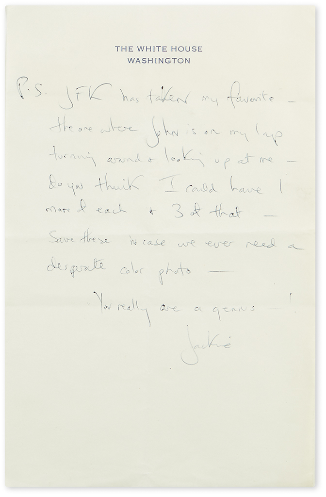 KENNEDY, JACQUELINE. Two letters to photographer Mark Shaw (Dear Mark), each Signed, Jackie, as First Lady, concerning his photos:
