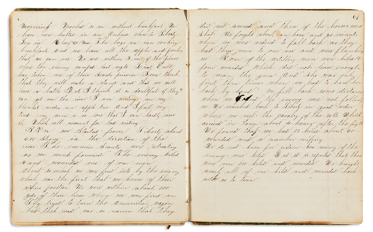 (CIVIL WAR--IOWA.) William F. Wright. Diary of an Iowa soldier facing off against secessionist bushwhackers in Missouri.