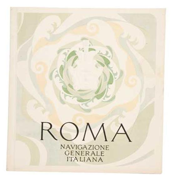 """(ITALIAN LINE.) """"Roma."""" Group of 22 pieces related to the ship, including a number of deck plans, brochure..."""