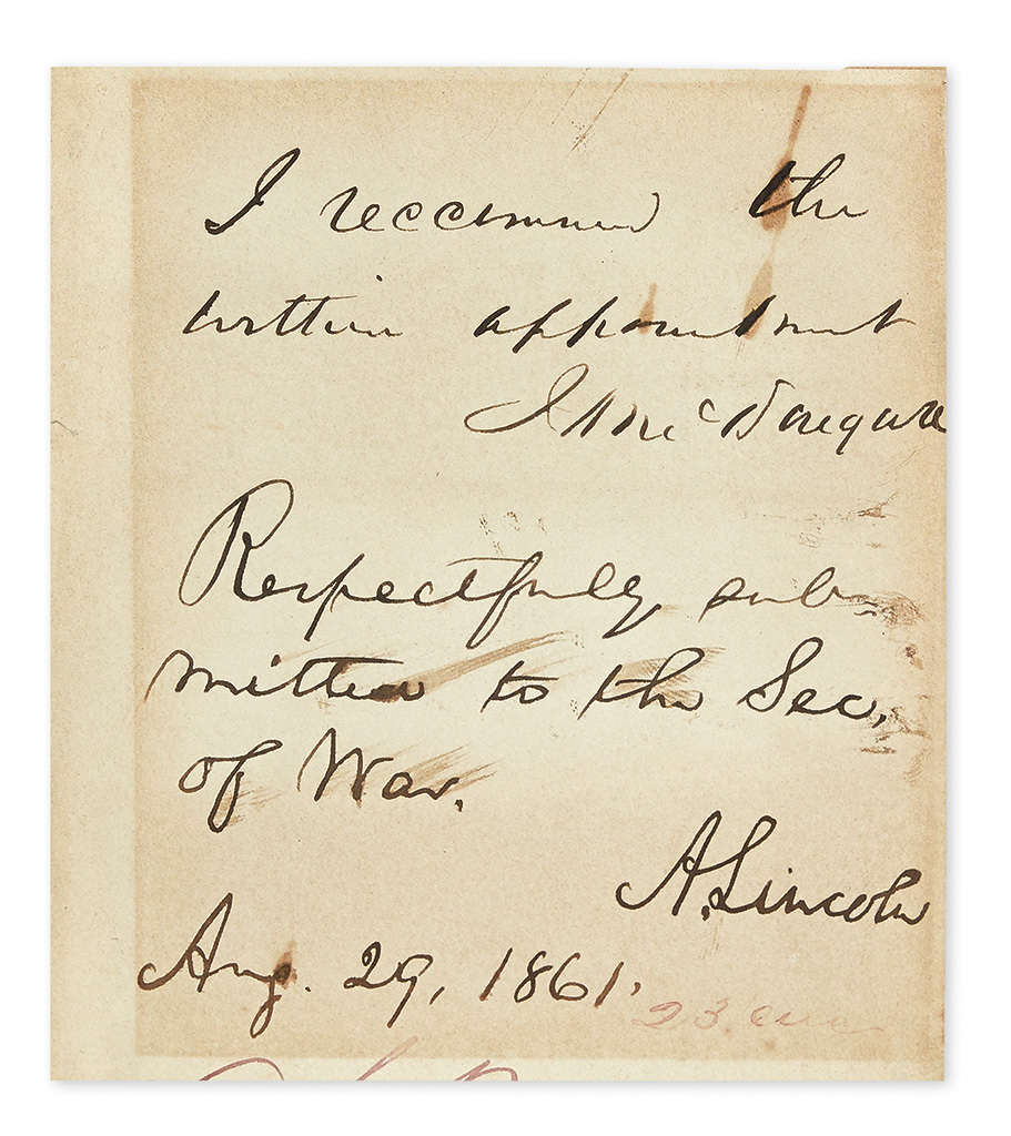 LINCOLN, ABRAHAM. Autograph Endorsement dated and Signed, A. Lincoln, as President, on slip of paper removed from larger sheet: