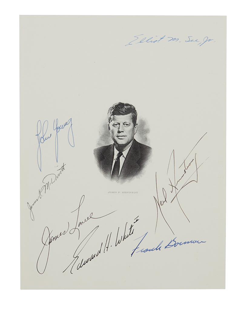(ASTRONAUTS--GEMINI.) Engraved bust portrait of John F. Kennedy Signed by Neil Armstrong, Elliot See, Edward White, Jim Lovell, James M