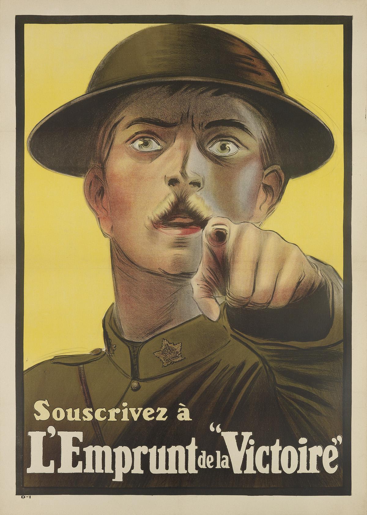 DESIGNER UNKNOWN. SOUSCRIVEZ À LEMPRUNT DE LA VICTOIRE. 1917. 55x39 inches, 140x100 cm.