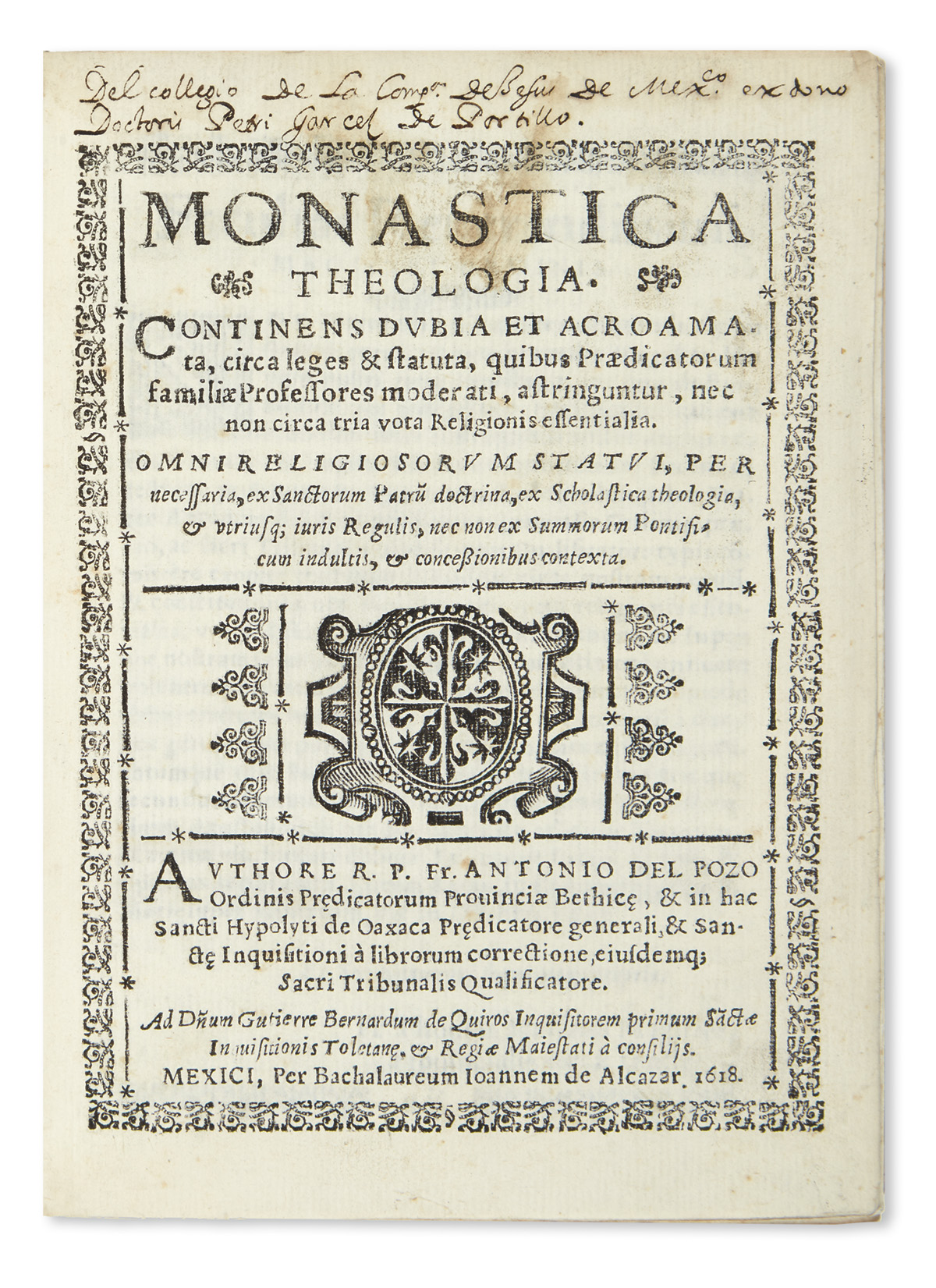 (MEXICAN-IMPRINT--1618)-Pozo-Antonio-del-Monastica-theologia