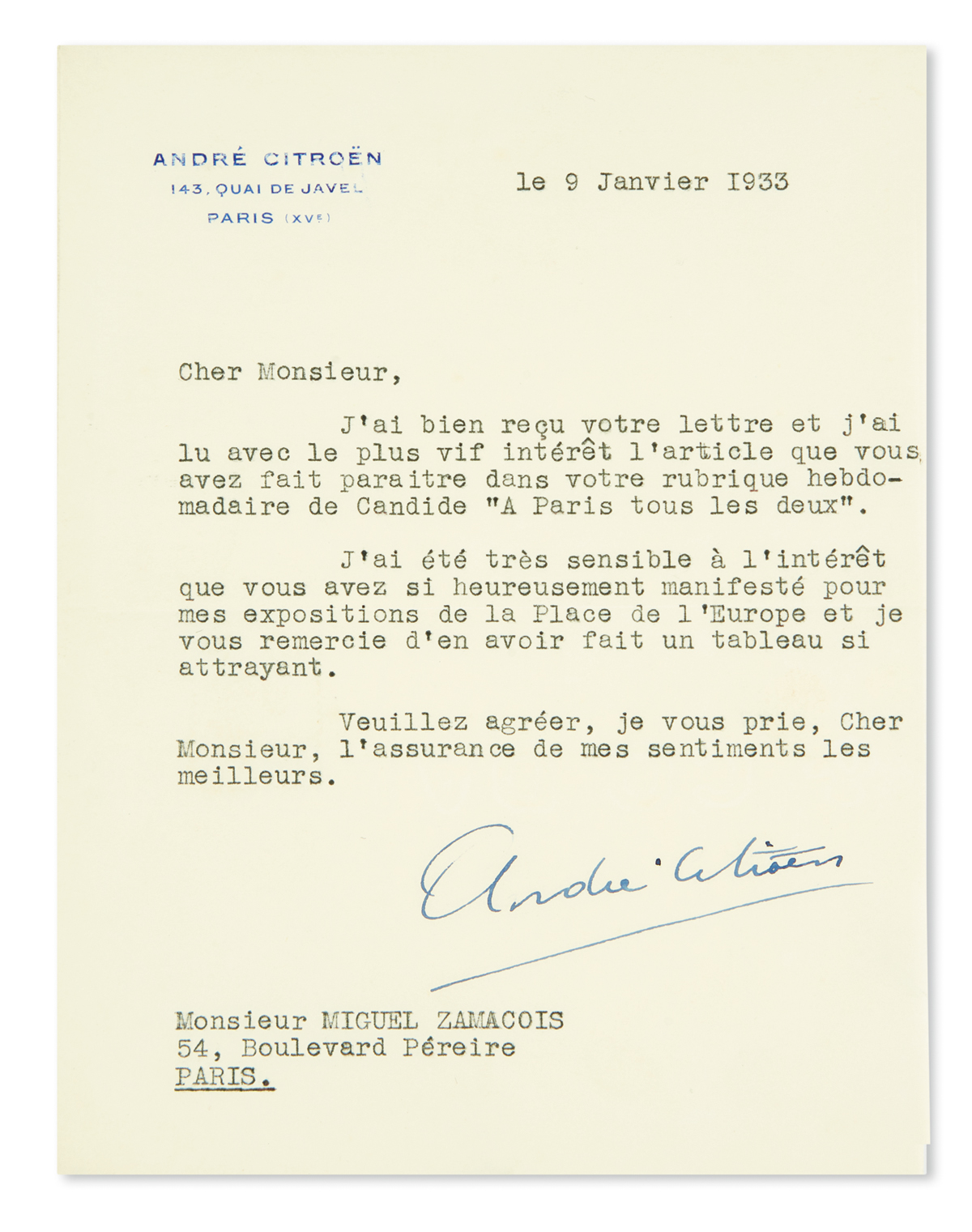 (BUSINESS)-CITROËN-ANDRÉ-Typed-Letter-Signed-to-journalist-a