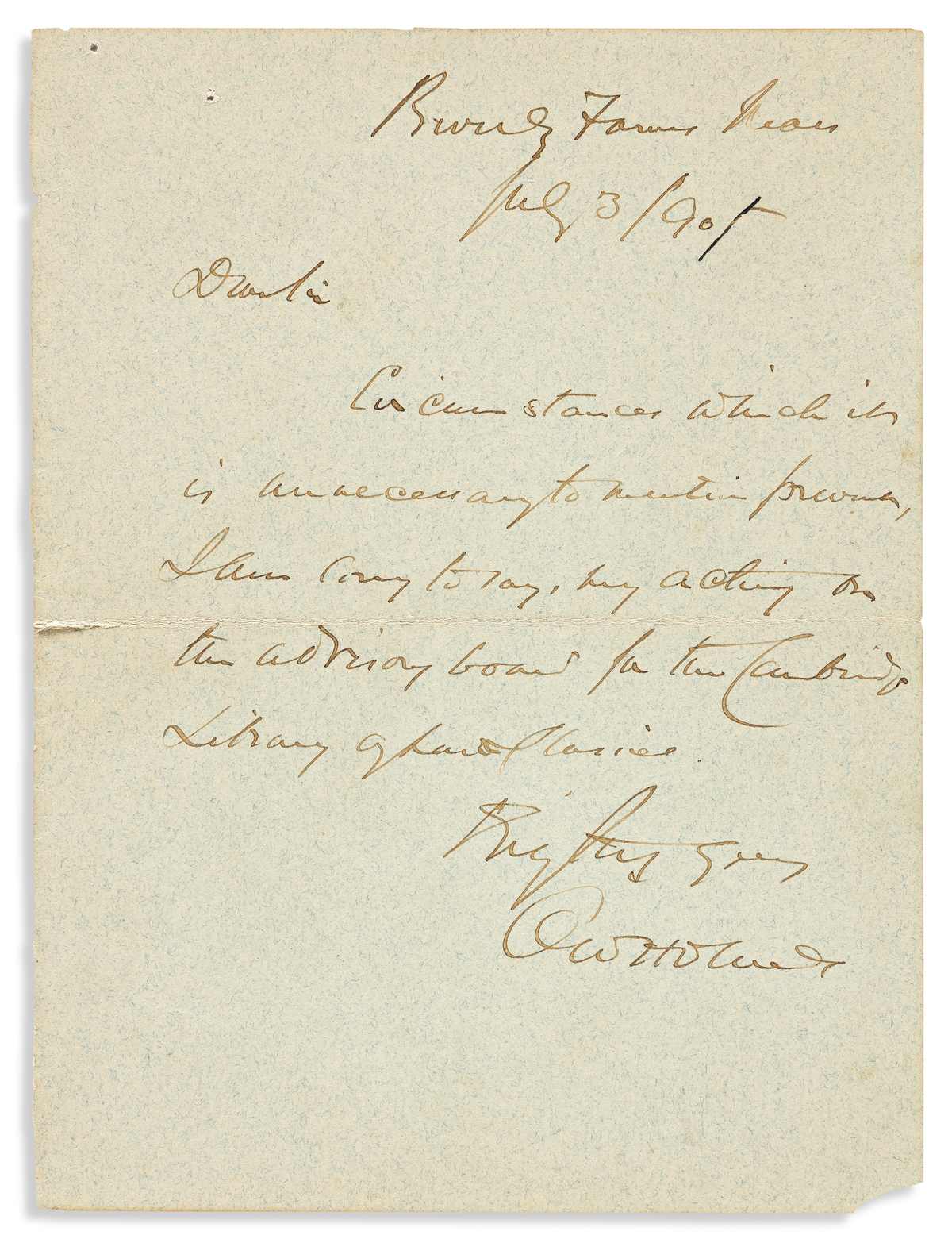 (SUPREME COURT.) HOLMES, OLIVER WENDELL; JR. Autograph Letter Signed, OWHolmes, to Dear Sir, declining an invitation.