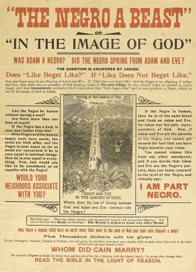 """(RACISM.) [CARROLL, CHARLES.] The Negro a Beast, or """"""""In the Image of God."""""""""""