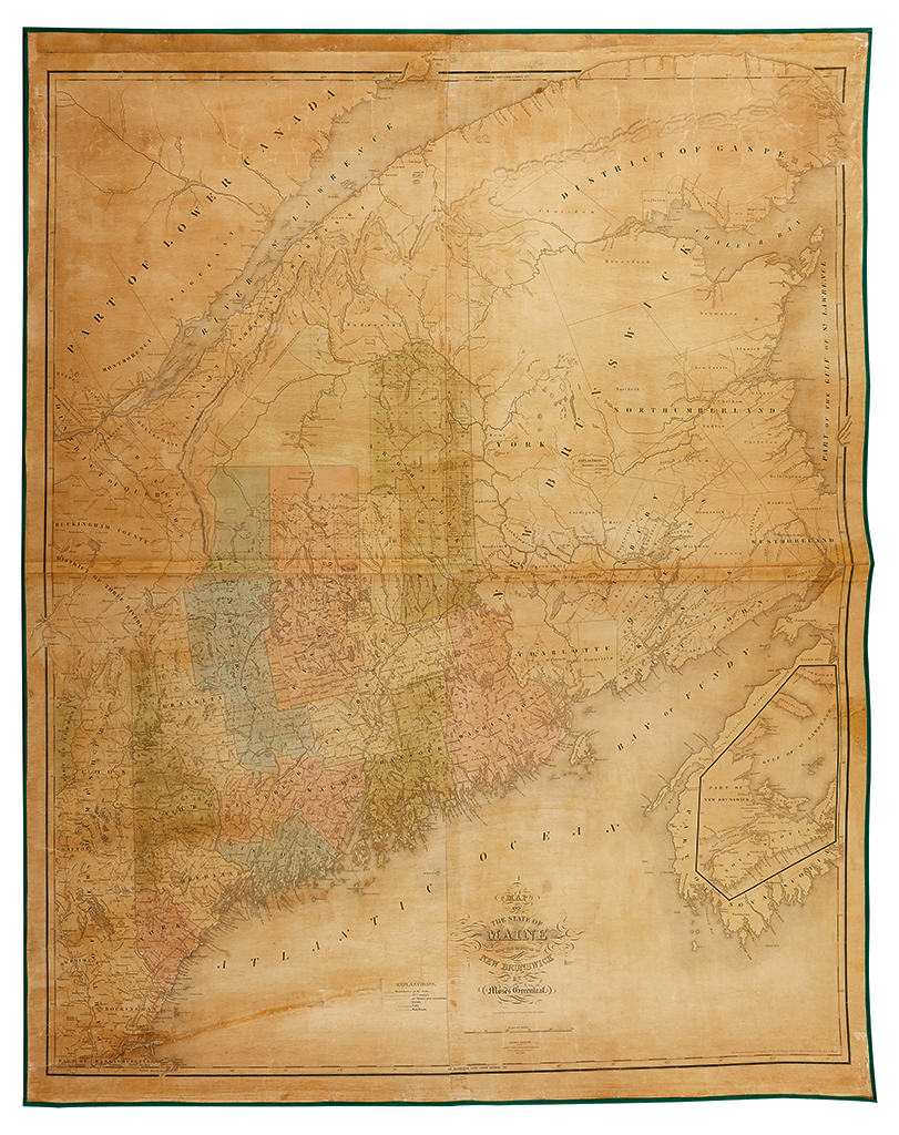 GREENLEAF, MOSES. Map of the State of Maine with the Province of New Brunswick.