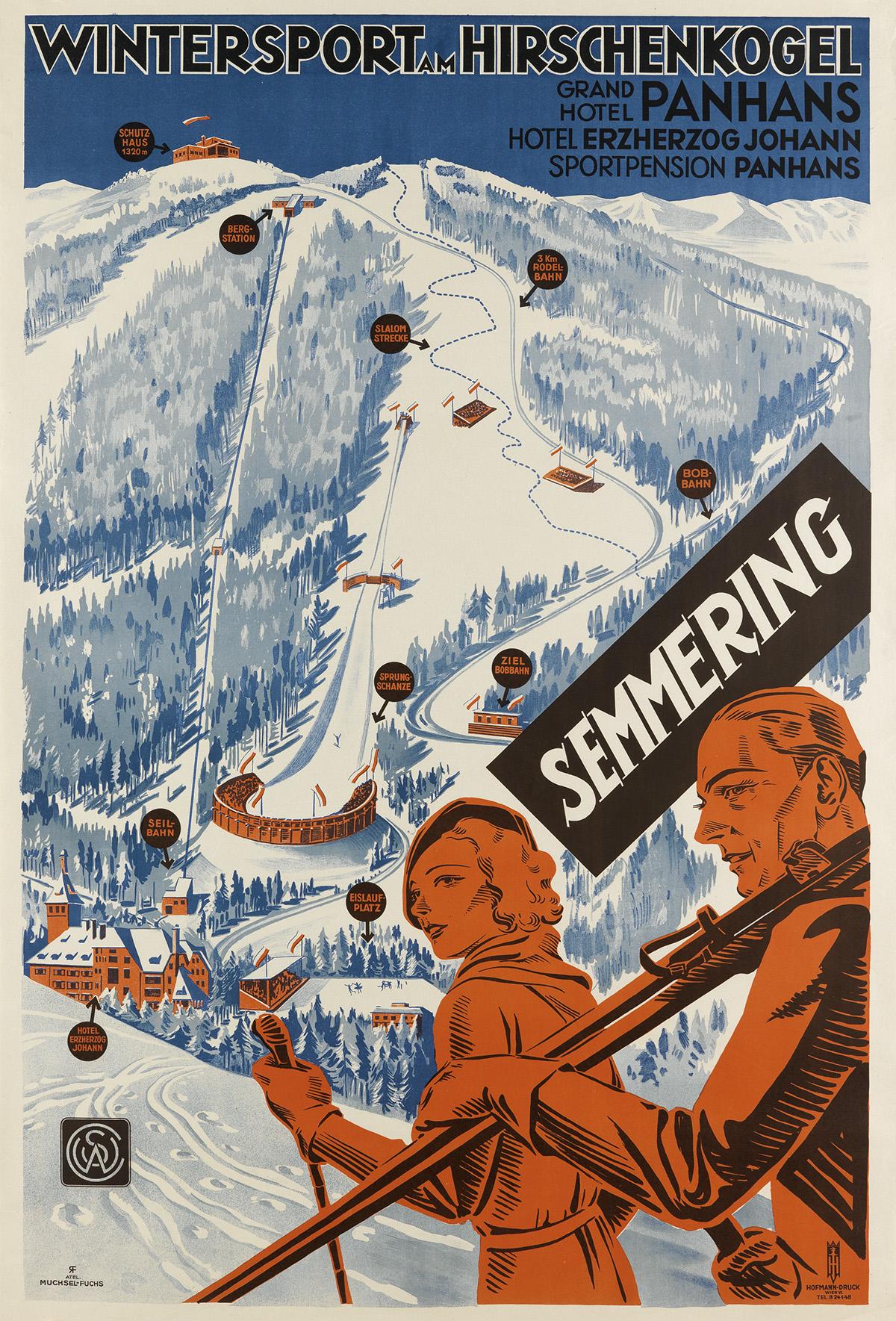 ATELIER MUCHESEL-FUCHS. SEMMERING / WINTERSPORT AM HIRSCHENKOGEL. 37x25 inches, 94x65 cm. Hofmann, Vienna.