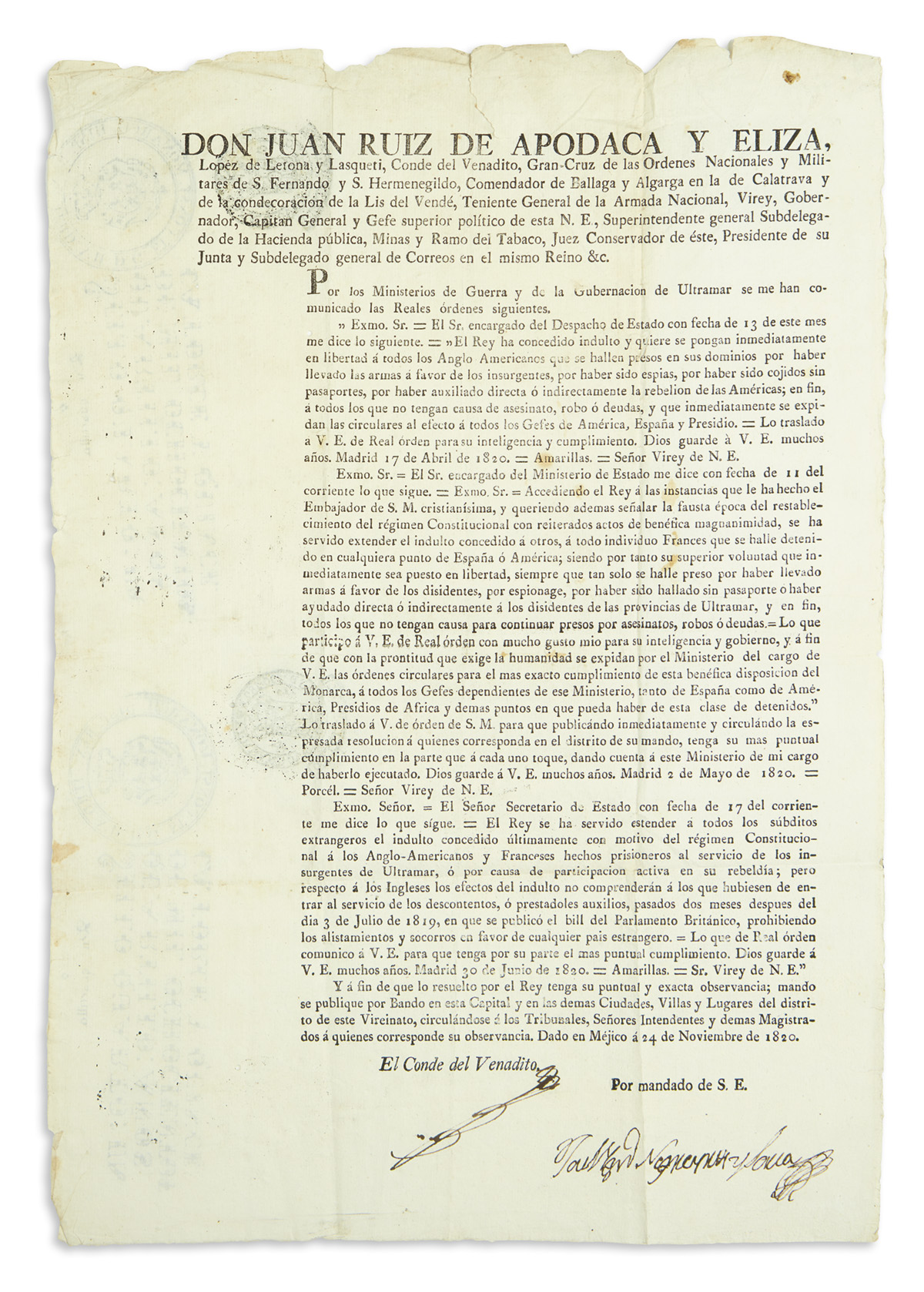 (MEXICAN IMPRINT--1820.) Ruiz de Apodaca, Juan. Offer of amnesty to American citizens who had fought for Mexican independence.