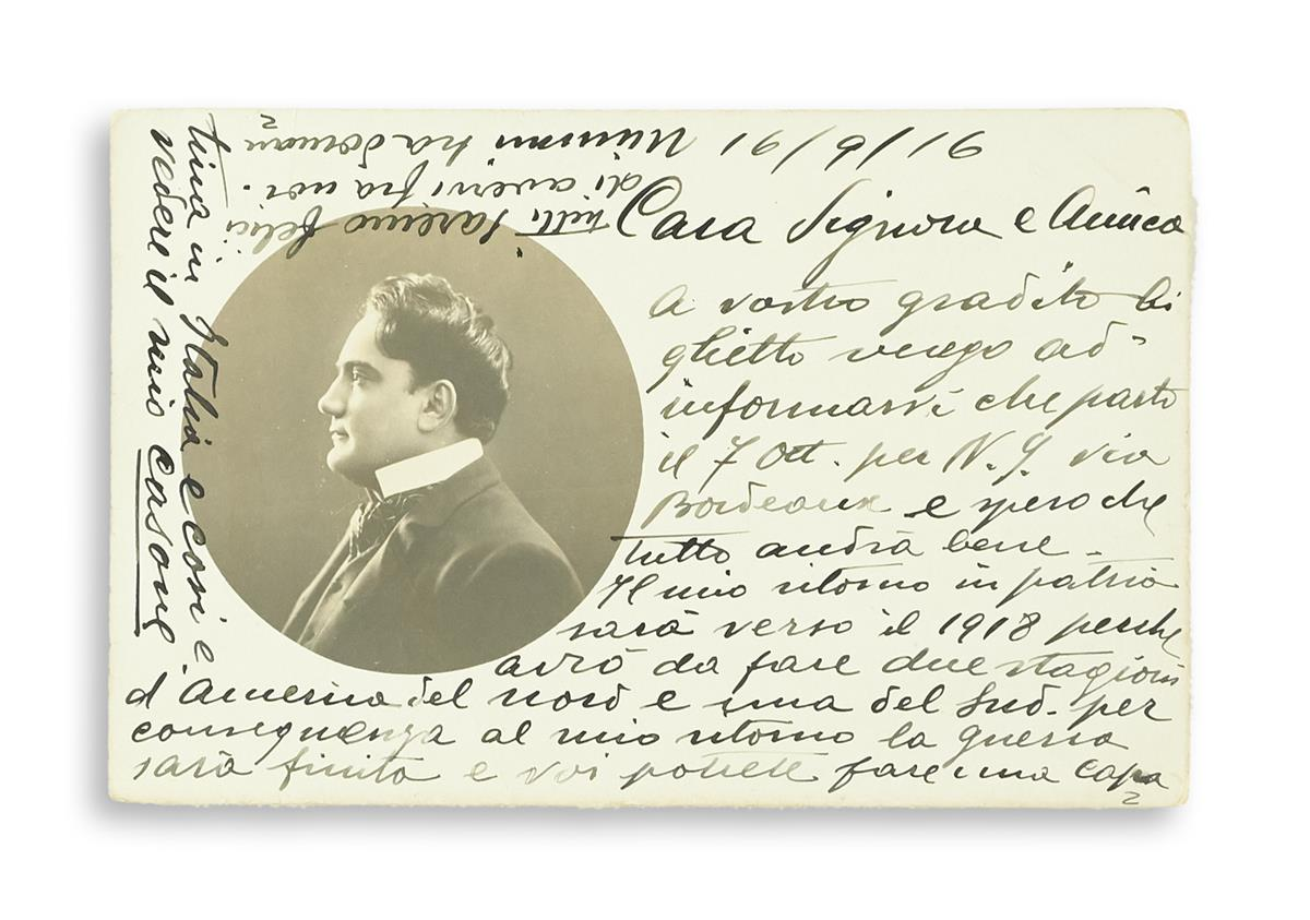 CARUSO, ENRICO. Archive of 17 postcards, each with an Autograph Note Signed, Caruso, ECaruso, Carusetto, Scatola or Scatolina