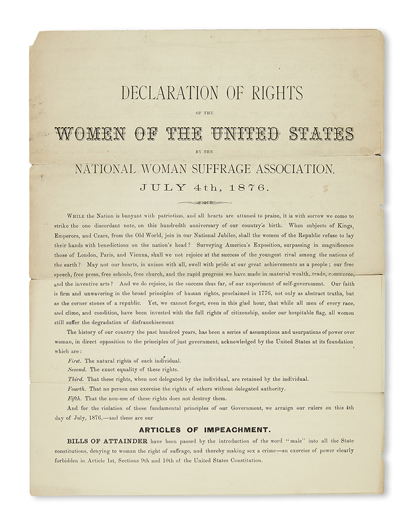 (WOMENS RIGHTS.) Declaration of Rights of the Women of the United States.