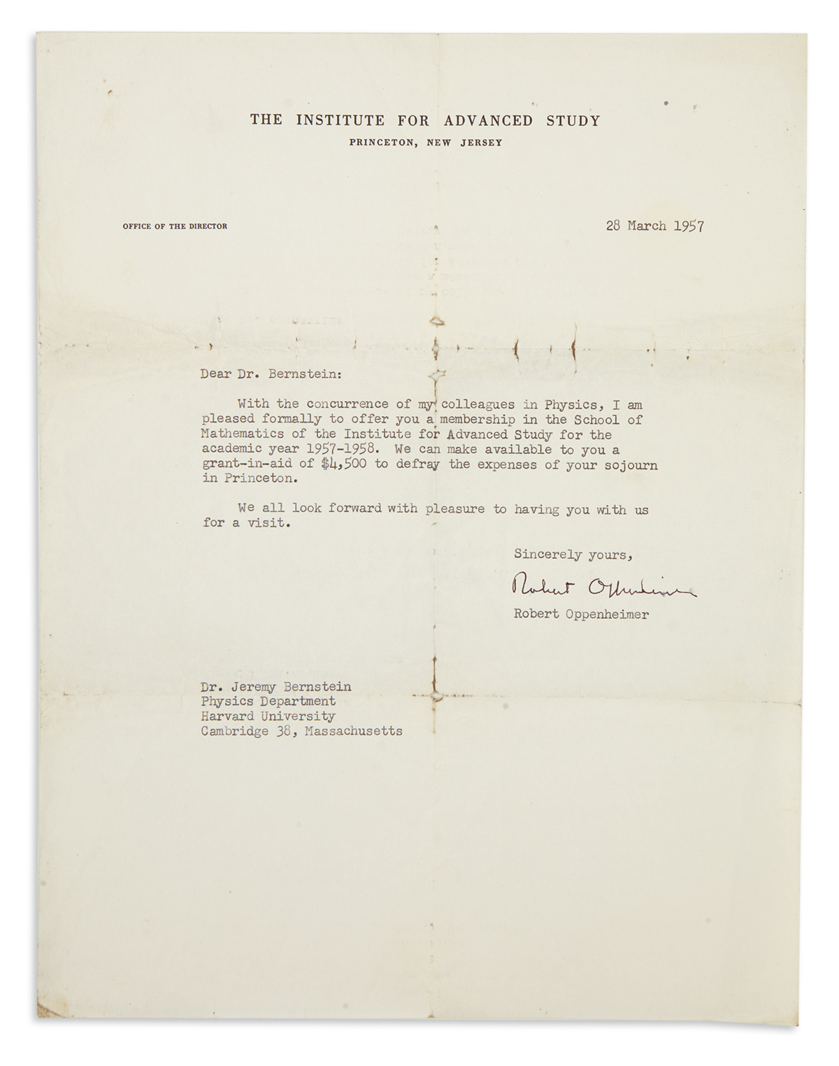 (SCIENTISTS)-OPPENHEIMER-JULIUS-ROBERT-Typed-Letter-Signed-Robert-Oppenheimer-as-Director-of-the-Institute-to-Jeremy-Bernstein