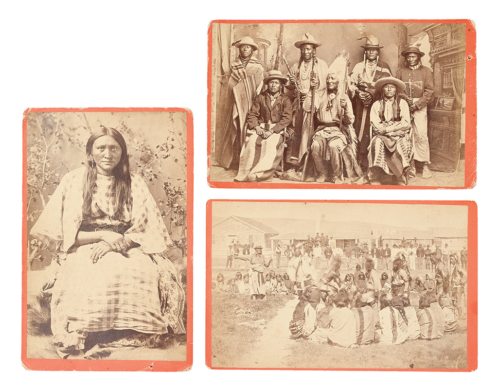 (AMERICAN-INDIANS--PHOTOGRAPHS)-Baker--Johnston;-photographers-Group-of-3-cabinet-card-portraits-of-Shoshone-subjects